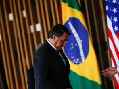 O presidente Jair Bolsonaro em evento no Itamaraty para receber o então conselheiro de Segurança Nacional dos EUA, Robert O'Brien, em novembro de 2020.