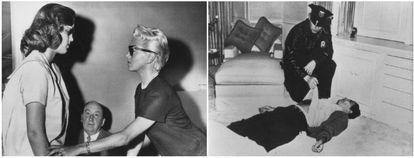 À esquerda, Lana Turner em 1958, com sua filha Cheryl Crane, acusada de matar o namorado da sua mãe, o mafioso Johnny Stompanato, e mais tarde absolvida. O homem que aparece no meio era o advogado da menor, Jerry Geisler. À direita, o cadáver de Johnny Stompanato.
