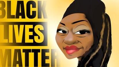 A ativista Alicia Garza, retratada em uma ilustração.