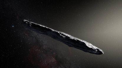 Recriação do asteroide Oumuamua, com meio quilômetro de comprimento.