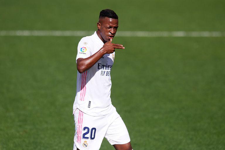 Vinicius Júnior comemora seu gol contra o Levante no dia 4 de outubro.