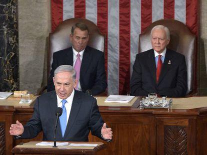 Netanyahu, ante a sessão conjunta do Congreso de EUA.