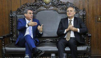 Os senadores Romero Jucá e Renan Calheiros