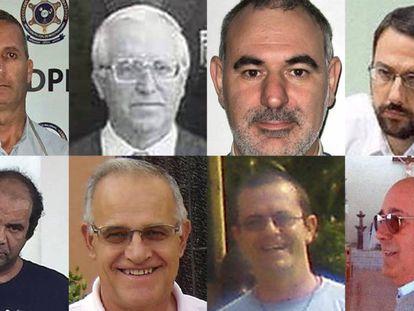 Oito dos 18 religiosos acusados.
