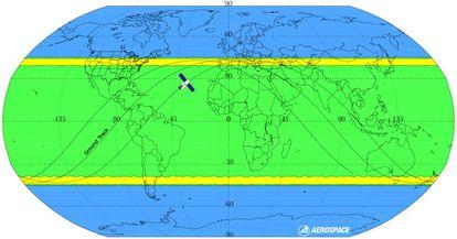Possíveis órbitas da Tiangong-1. Em azul, a área com risco zero de queda. A maior probabilidade de reentrada está nas faixas amarelas