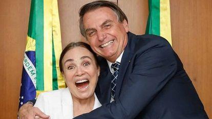 Regina Duarte e Jair Bolsonaro, em foto publicada no conta de Instagram do presidente.