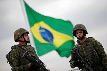 Fuzileiros navais no Parque Olímpico, no Rio de Janeiro, nesta quinta-feira.