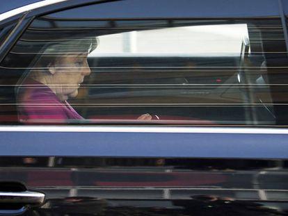 Merkel fala sobre a negociação com o SPD, na terça-feira, em Berlim.