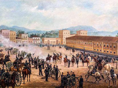 Pintura retrata a Proclamação da República, em 1889.