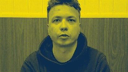 Captura de um vídeo postado nas redes sociais do jornalista bielorrusso Roman Protasevich, durante sua prisão em Minsk.