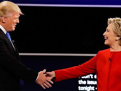 Trump e Clinton, durante o debate.