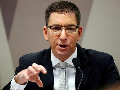 O jornalista Glenn Greenwald fala durante audiência na Câmara dos Deputados, no dia 11 de julho.