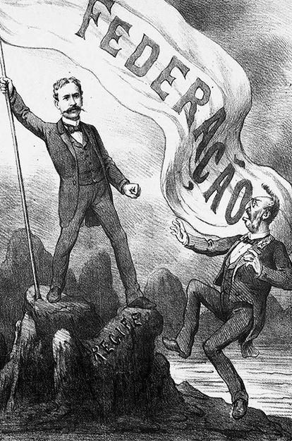 Charge da Revista Ilustrada mostra desejo de federalismo no fim do Império.