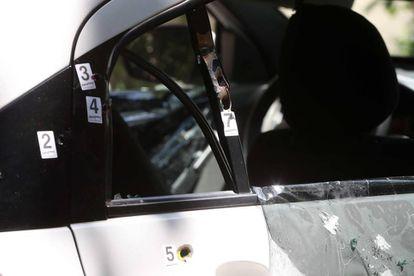 Carro em que estavam Marielle Franco e Anderson Gomes, mortos a tiros no Rio.