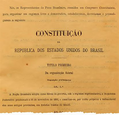 Trecho inicial da Constituição de 1891.