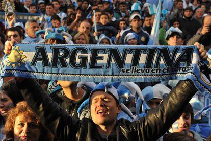 Torcedores argentinos em Buenos Aires.