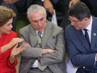 Rousseff, Temer e Levy em evento na terça-feira.