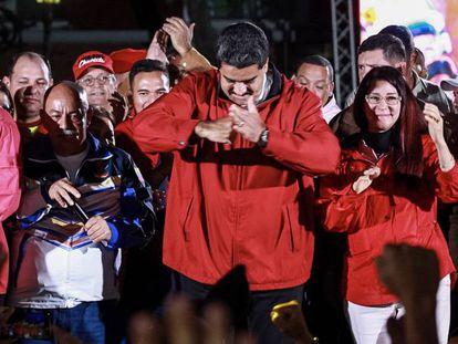 Maduro celebra os resultados eleitorais, no domingo passado em Caracas (Venezuela) .