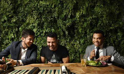 Kim Kataguiri, Arthur do Val e Fernando Holiday, lideranças do MBL, em 2018.