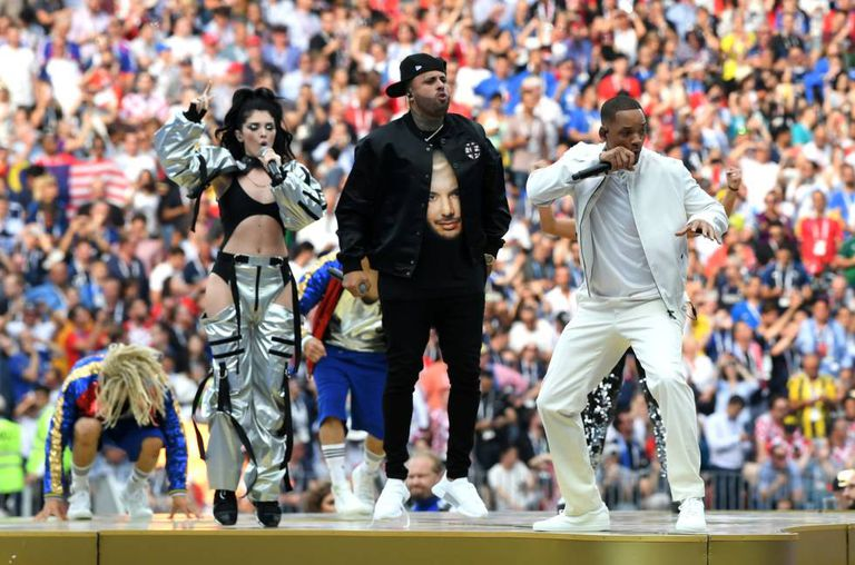 Will Smith, Nicky Jam e Era Istrefi na festa de encerramento da Copa.