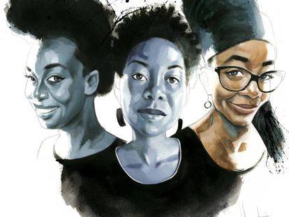 Da esquerda para a direita, Chimamanda Ngozi Adichie, NoViolet Bulawayo e Nnedi Okorafor, vistas por Fernardo Vicente.