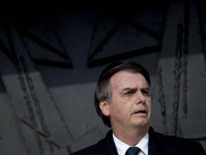 Bolsonaro, no memorial do holocausto, em Israel.