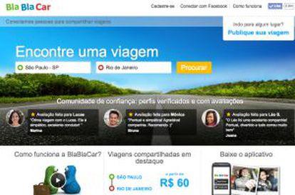 Página do BlaBlaCar no Brasil.