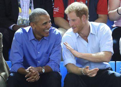 Barack Obama e o príncipe Harry nos Jogos Invictus em setembro em Toronto, Canadá.