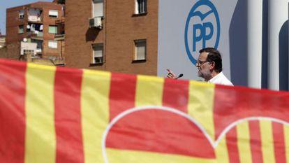 O presidente do Governo Espanhol, Mariano Rajoy, no domingo anterior à eleição na Catalunha.