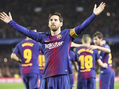 Messi comemora o terceiro gol catalão.