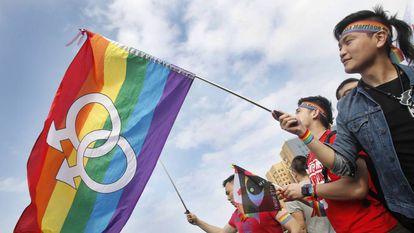 Simpatizantes do casamento gay em Taipei, em 2016.