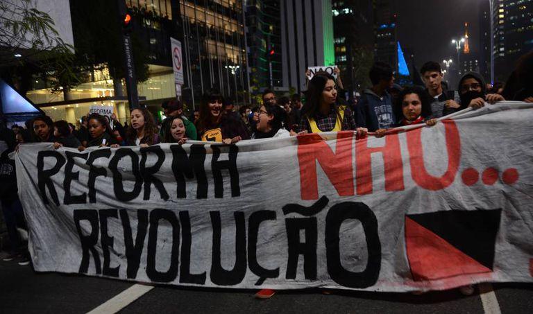 Protesto contra a reforma do Ensino Médio em São Paulo, em setembro.