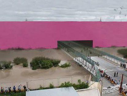 Simulação do muro na fronteira entre EUA e México projetada pelo estudo mexicano 3.14.