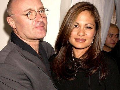 Phil Collins com Orianne quando ainda eram um casal feliz.