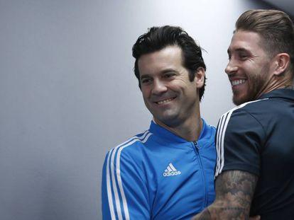 Sergio Ramos e Santiago Solari, treinador do Real, antes da final.