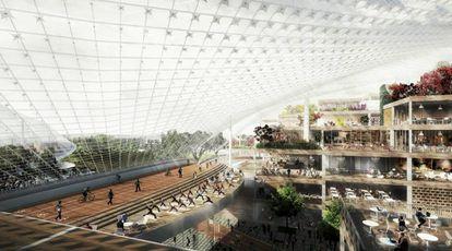 Área de recreação da nova sede que o Google planeja na Califórnia.