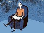 Yuval Noah Harari, retratado en el cómic de 'Sapiens'.