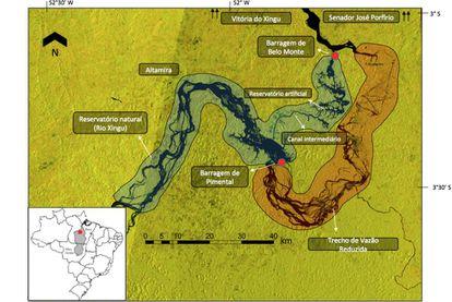 Mapa da obra da Usina Hidrelétrica de Belo Monte