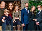 La felicitación de Navidad de los duques de Cambridge y, a la derecha, la de Haakon y Mette Marit de Noruega.