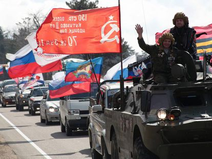 Carreata com bandeiras para comemorar o quinto aniversário da anexação da península da Crimeia pela Rússia, em Sebastopol, em 16 de março.