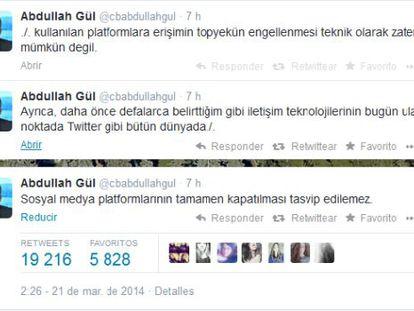 Tuits do presidente turco nos que recusa o bloqueio de Twitter.