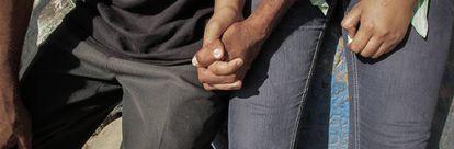 Um casal de refugiados salvadorenhos recém-chegado a Tapachula