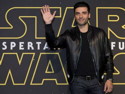 Oscar Isaac no lançamento do filme na cidade do México.