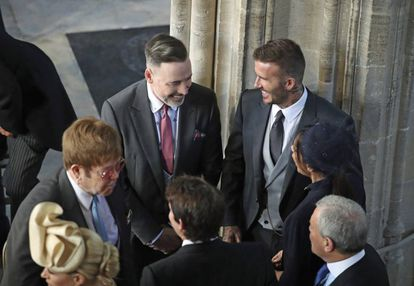 David e Victoria Beckham, com Elton John e seu marido, David Furnish.