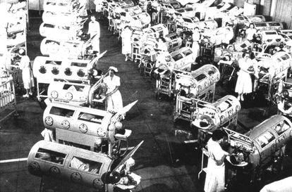 Sala com 'pulmões de aço' no centro Rancho Los Amigos (EUA), em 1952.
