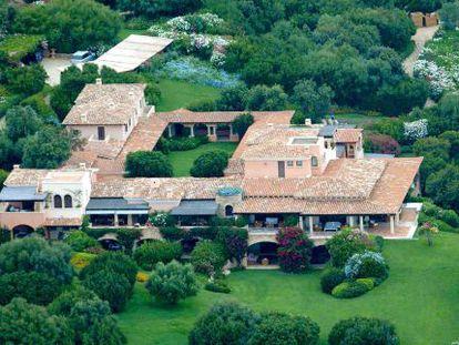 Vista aérea da Villa Certosa, a mansão de Silvio Berlusconi na Sardenha.