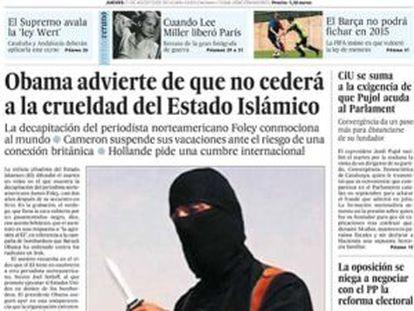 Capa do EL PAÍS em 21 de agosto de 2014.