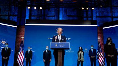 O presidente eleito dos Estados Unidos, Joe Biden, durante a apresentação dos primeiros membros do seu Governo, nesta terça-feira, em Wilmington (Delaware).