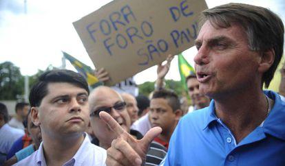 Bolsonaro, em marcha que pediu a intervenção militar no Brasil.