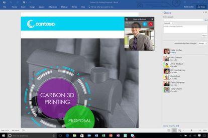 Tela gigante do novo Word, integrado com o Skype.